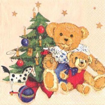 Ajándék mackók karácsonyfával Szalvéta