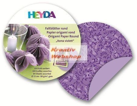 Origami papír - Lila Róma Origami papír, kör 10 cm