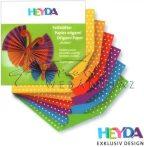 Origami papír - Pöttyös hajtogató készlet, 6 színű, 10x10 cm