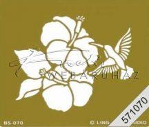 Embossing sablon - Kolibri tölcsérvirággal