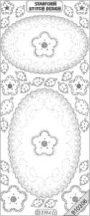 Ezüst Ovális, csipke,virág, átlátszó Peel-Off