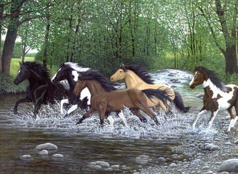 Kreatív hobby - Kifestő készlet akrilfestékkel, ecsettel, felnőtteknek - 30x40 cm - Vadlovak télen