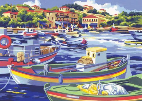 Kreatív hobby - Kifestő készlet akrilfestékkel, ecsettel, felnőtteknek - 30x40 cm - Mediterrán halás