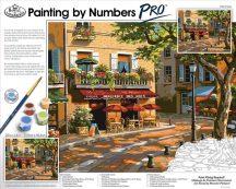 Óriási méretű kifestő készlet számokkal, ecsettel, profiknak - 51x41 cm - Párizsi utcakép