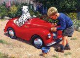 Kifestő készlet akrilfestékkel, ecsettel, gyerekeknek 11 éves kortól - 30x40 cm - Pedálos autó