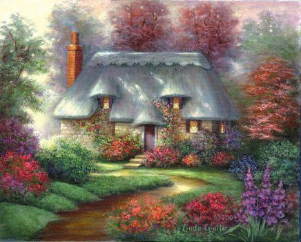 Kreatív hobby - Régi házikó - Képfestő készlet felnőtteknek