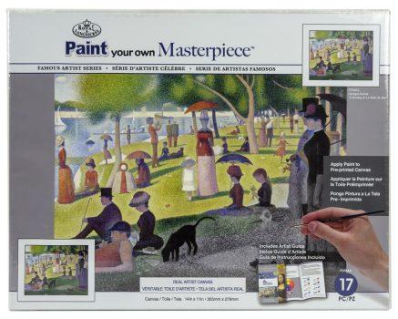 Kifestő készlet vászonra, akrilfesték, ecset, felnőtteknek - 23x31 cm - Georges Seurat: Vasárnap