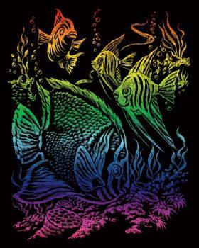 Képkarcoló készlet karctűvel - 20x25 cm - Szivárványos - Trópusi hal