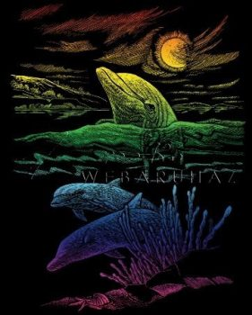 Képkarcoló készlet karctűvel - 20x25 cm - Szivárványos - Delfinek
