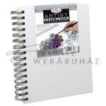 Vázlattömb, személyre szabható, fehér vászonkötéses spirálos - Royal SketchBook A5