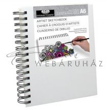 Vázlattömb, személyre szabható, fehér vászonkötéses, spirálos  - Royal SketchBook A6