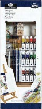 Óriás akril művészkészlet, nagy asztali álló festőállvánnyal - Royal Acrylic 23 részes szett 25x66cm
