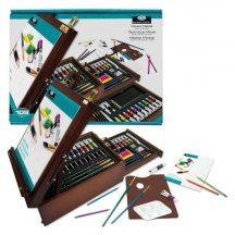 Óriás akril, olaj és akvarell művészkészlet, dobozos asztali festőállvánnyal - Royal Mixed Media 102