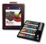 Óriás akril, olaj és akvarell művészkészlet, asztali festődobozzal - Royal Mixed Media 102 részes sz