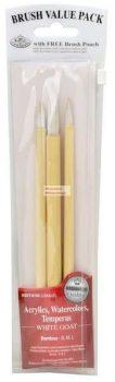 Kreatív hobby - Ecsetkészlet - Fehér kecskeszőr ecsetek bambusznyéllel - 3 darabos