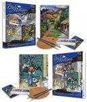 Kifestő, 2 db, vászonra, felnőtteknek - 28x36 cm - Cézanne: Kék váza és Coulter: Hegyi út