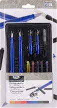 Kalligráfia készlet, 16 részes - Tölthető/patronos tollkészlet 4 különböző méretű tollheggyel és 10