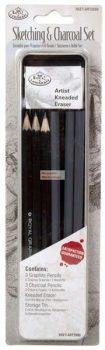 Kreatív hobby - Vázlat és szén mini készlet - fém dobozban - Royal - 12db