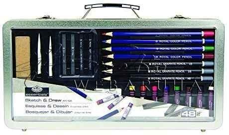 Rajz- és színes-ceruza készlet elegáns, füles fémtáskában - Royal - 48 db-os készlet, kb. 35x18x5 cm