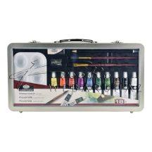 Nagy akvarellfestő készlet elegáns, füles fémtáskában - Royal - 18 részes készlet, kb. 35x18x5 cm