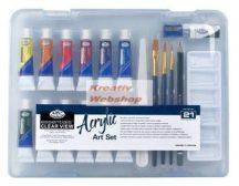 Kreatív hobby - Akrilfestő készlet  - Divatos áttetsző táskában - Royal kezdő készlet akrilfestékkel