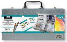 Nagy ZEN művészkészlet elegáns fa táskában, 50 részes szett - Royal ZEN 50 hosszúnyelű ecsetekkel
