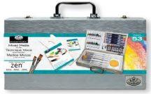 Nagy ZEN művészkészlet elegáns fa táskában, 53 részes szett - Royal ZEN 53, rövidnyelű ecsetekkel