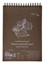 Vázlattömb - SMLT Brown watercolor authenticpad, spirálos - barna, 280gr, 20 lapos A5