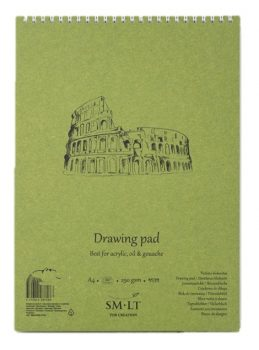 Akriltömb - SMLT Drawing Pad - Fehér, 290gr, 20 lapos A5