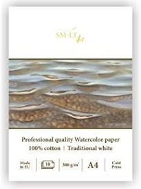 Akvarelltömb - SMLT Art Professional Watercolor 300gr, 10 lapos művésztömb 38x19cm méretű