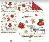Kartonpapír - Karácsonyi díszes, mézeskalácsos karácsonyi mintás karton, 300g, 1 lap