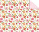 Kartonpapír - Apró piros-sárga-rózsaszín-kék virágok, mintás karton sárga alapon, 1 lap