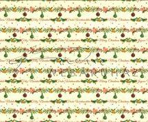 Kartonpapír - Karácsonyi varázslat Díszített fenyőfaágak sormintás Karton, 300g, 1 lap