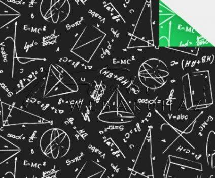 Kartonpapír - Suli minta 2, két oldalas iskolatábla képletekkel fekete/zöld Back to school