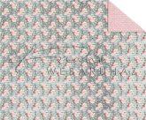 Kartonpapír - Apró rózsák mintás karton, 29,5x20cm