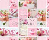 Kartonpapír - Just Married, Rózsaszín, esküvői képes, fotómontázs mintás Karton, 1 lap