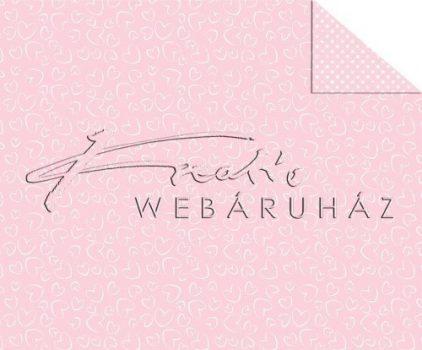 Kartonpapír - Rózsaszín szívek, mintás karton, 29,5x20cm, 1 lap