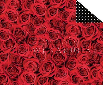 Kartonpapír - Klasszikus esküvő, vörös rózsa mintás karton, fotórealisztikus, 1 lap