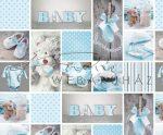 Kartonpapír - Babaváró, kék mackós-szíves-babaruhácskás fotómontázs mintás Karton, 1 lap