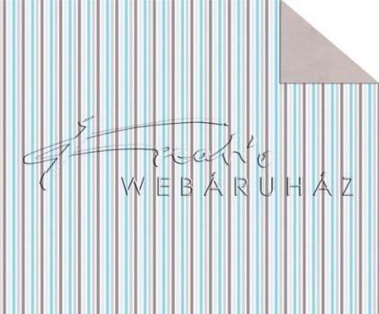 Kartonpapír - Babaváró kék, csíkos mintás karton, 1 lap
