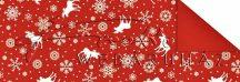 Kartonpapír - Karácsonyi Jule piros-fehér mintás karton, jávorszarvas és hópelyhek motívum