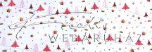 Kartonpapír - Piros aprómintás karton, piros fenyőfák, mini ajándék és csillag motívumokkal