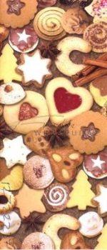 Kartonpapír - Karácsonyi hangulat, linzer és karácsonyi süti mintás karton, 29,5x20 cm, 1 lap