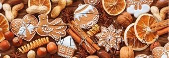 Kartonpapír - Karácsonyi hangulat, Mézeskalács süti mintás Karton, 29,5x20 cm, 1 lap