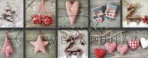 Kartonpapír - Skanzen kézműves Karácsonyi díszek fotómontázs mintás Karton, 300g, 1 lap