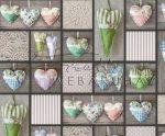Kartonpapír - Skanzen Kézműves szívek fotómontázs mintás Karton, 300g, 1 lap