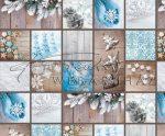 Kartonpapír - Skanzen Karácsony, Kék-fehér kézműves Karácsonyi díszek fotómontázs