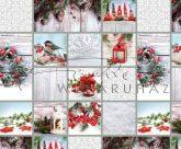Kartonpapír - Skanzen Karácsony, Fenyőcinke és piros-fehér kézműves Karácsonyi díszek