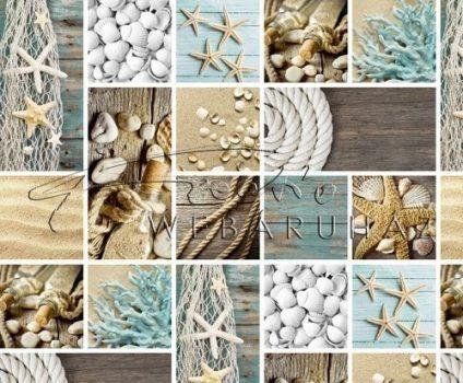 Kék - Fehér tengeri emlékek mintás, Karton
