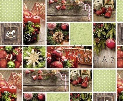 Kartonpapír - Karácsonyi hangulat fotómontázs, Piros-zöld karácsonyi díszekkel mintázott